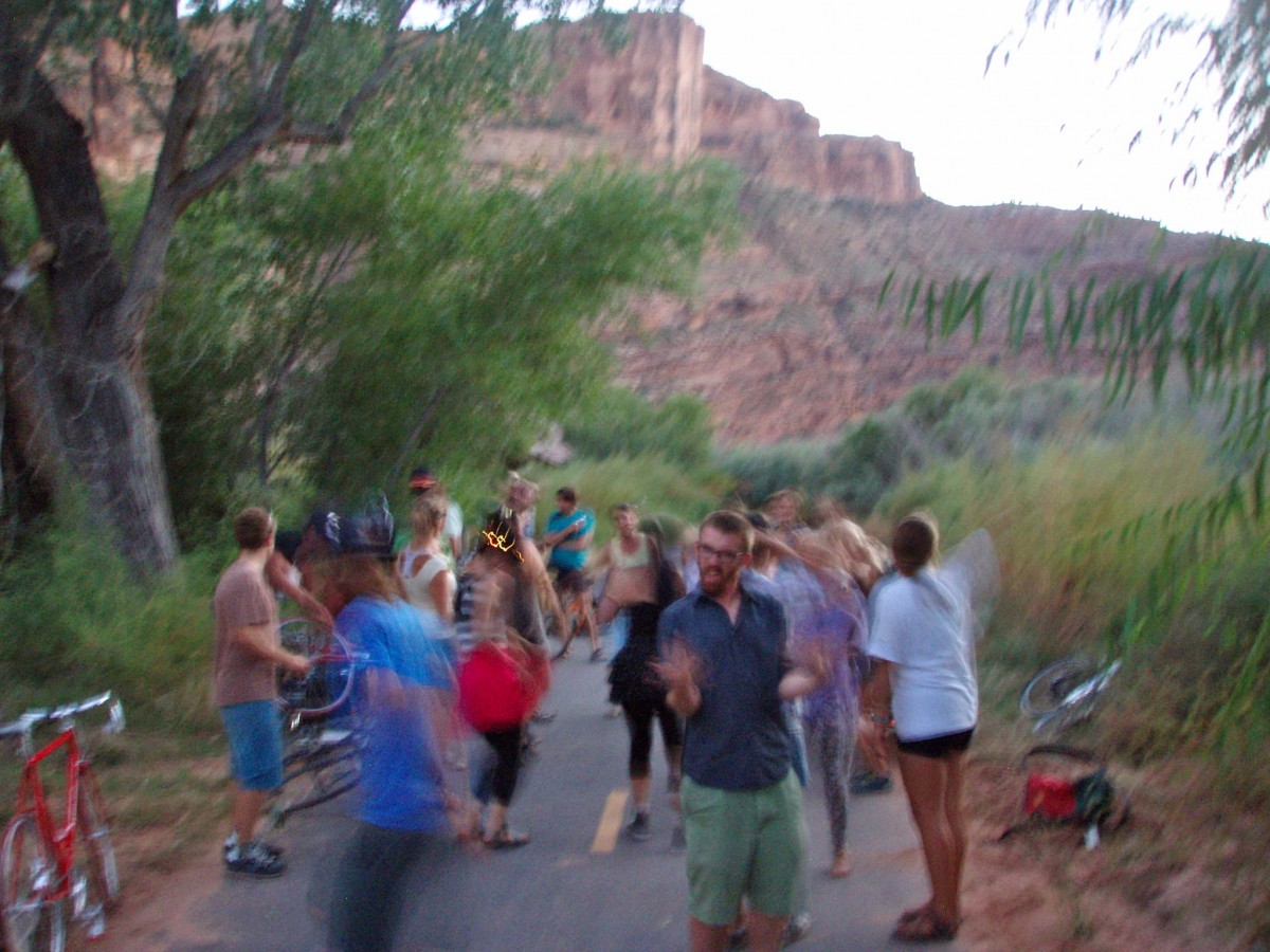 Moab Bike Party features KZMU DJs Honeywine, Molly Marcello, and Fjord Lord