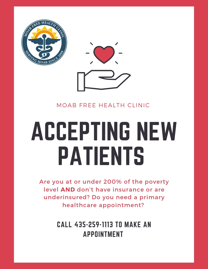 Moab Free Health Clinic is accepting new patients!