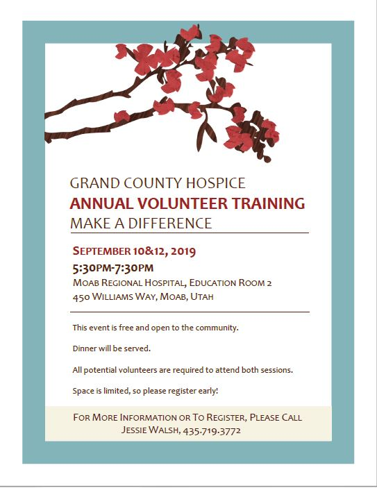 GRAND COUNTY HOSPICE ANNUAL VOLUNTEER TRAINING: MAKE A DIFFERENCE