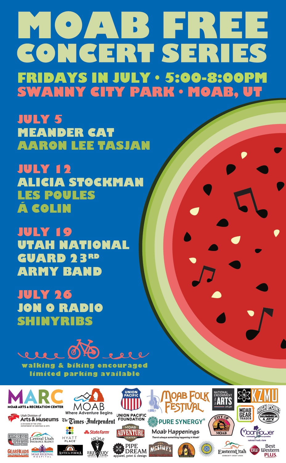 Moab Free Concert Series presents Four Free Concerts in July!
