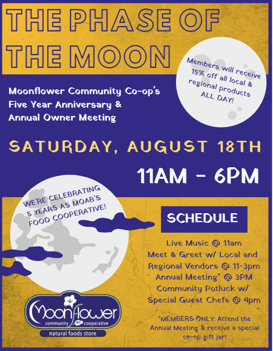 The Phase of the Moon: Moonflower Co-op's Five Year Anniversary Celebration & Annual Meeting
